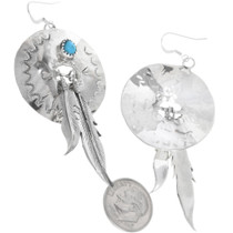Concho Earrings Sterling Feathers 33043