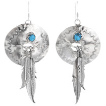Turquoise Silver Concho Dangle Earrings 33043