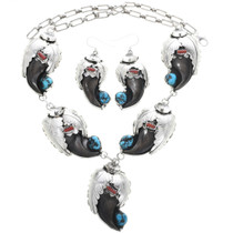 Bear Claw Turquoise Coral Y Necklace Set With Matching Dangle Earrings 33044