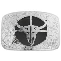 Engraved Silver Buffalo Skull Belt Buckle 33047