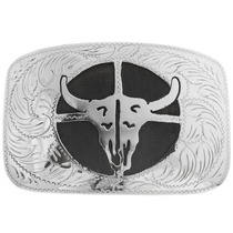 Engraved Silver Buffalo Skull Belt Buckle 33047
