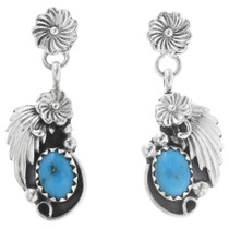 Turquoise Silver Navajo Flower Earrings