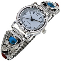 Ladies Turquoise Coral Silver Bracelet Watch 33055