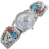 Turquoise Coral Eagle Mens Watch Tips 33056