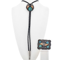 Turquoise Bear Claw Buckle Bolo Set 33059