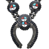Old Pawn Zuni Sunface Squash Blossom Necklace 33060