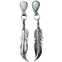 Opal Silver Feather Earrings 33064