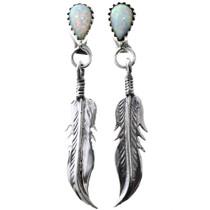 Opal Silver Feather Earrings 33064