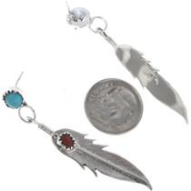 Post Dangle Silver Feather Earrings 33073