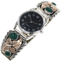 Gold Silver Malachite Mens Watch Tips 33075