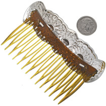 Handcrafted Repousse Silver Hair Comb 33076