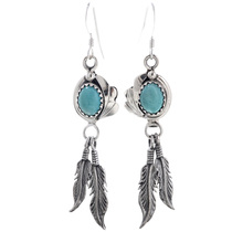 Navajo Turquoise Feathers Dangle Earrings 33079