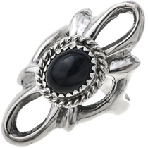 Black Onyx Old Pawn Style Silver Ring 33084