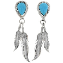Turquoise Teardrop Silver Post Dangle Earrings 33085