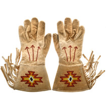 Vintage Flathead Indian Beaded Gauntlet Gloves 33091