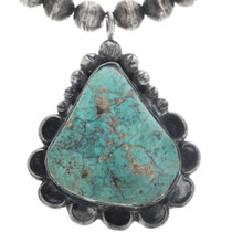 Vintage Navajo Sterling Silver Turquoise Pendant 33113