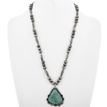 Old Pawn Navajo Turquoise Pendant Necklace 33113