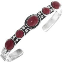 Sterling Silver Coral Navajo Cuff Bracelet 33119