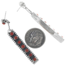 Native American Coral Dangle Earrings 33137