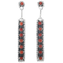 Rena Laate Zuni Silver Coral Earrings 33137