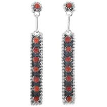 Rena Laate Zuni Silver Coral Earrings 33137