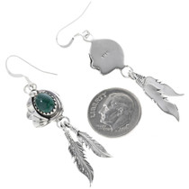 Sterling Silver Malachite Feather Earrings 33146