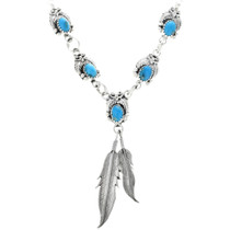 Navajo Turquoise Silver Feather Necklace 33147