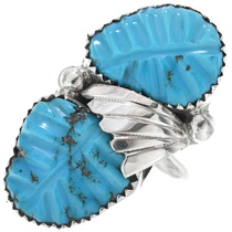 Carved Turquoise Ladies Ring 33152