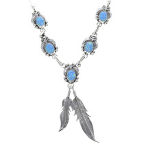 Navajo Opal Silver Feather Necklace 33153