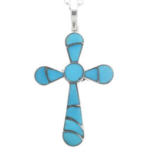 Sleeping Beauty Turquoise Cross Pendant 33159