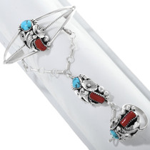 Navajo Turquoise Coral Princess Bracelet 33166