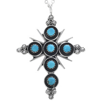 Native American Turquoise Cross Pendant 33168