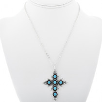 Sterling Silver Turquoise Zuni Cross Pendant 33168
