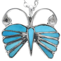 Turquoise Inlay Butterfly Pendant 33180