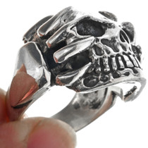 Claw Skull Sterling Silver Mens Ring 33184
