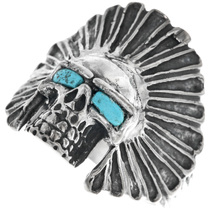 Indian Chief Turquoise Skull Ring 33185