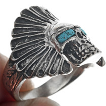 Indian Chief Headdress Skull Ring 33185
