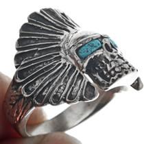 Indian Chief Headdress Skull Ring 33185