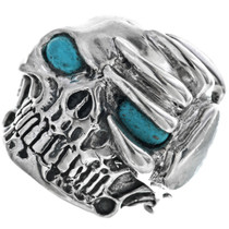 Silver Turquoise Skull Ring 33186