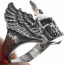 Silver Biker Skull Ring 33187