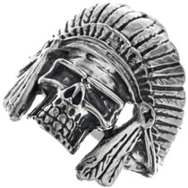 Indian Chief Headdress Skull Mens Ring 33190