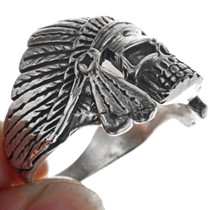 Navajo Sterling Silver Skull Ring 33190
