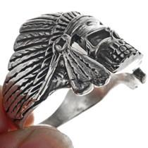 Navajo Sterling Silver Skull Ring 33190
