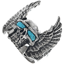 Sterling Silver Turquoise Skull Ring 33192