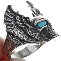 Winged Skull Turquoise Eyes Mens Ring 33192