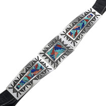 Vintage Inlaid Turquoise Sterling Silver Concho Belt 33195