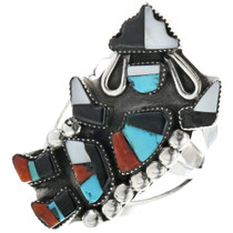 Turquoise Coral Native American Ring 33199