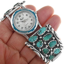 Natural Sleeping Beauty Turquoise Navajo Watch 33209