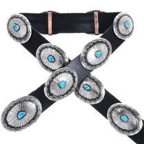 Vintage Turquoise Silver Concho Belt 33218