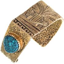 Vintage Navajo Turquoise 14K Gold Bracelet 33228